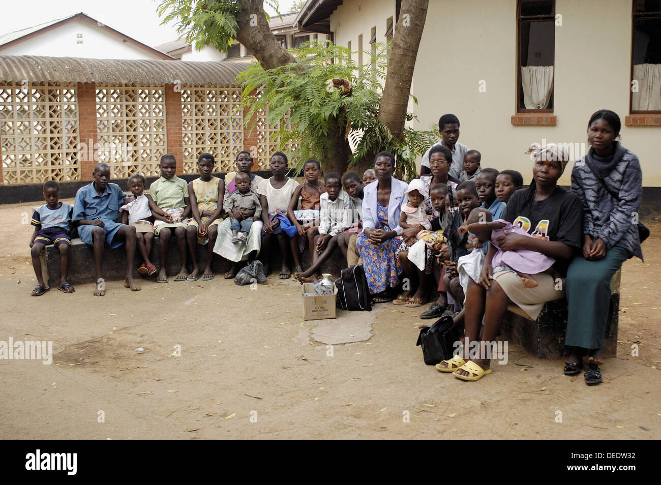Members and supporters of a start-up orphange meet at howard Hospital for HIV and TB testing, Zimbabwe. Most, if Stock Photo