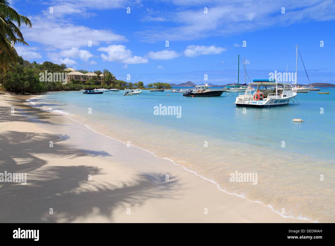 Beach in Cruz Bay, St. John, United States Virgin Islands, West Indies, Caribbean, Central America Stock Photo