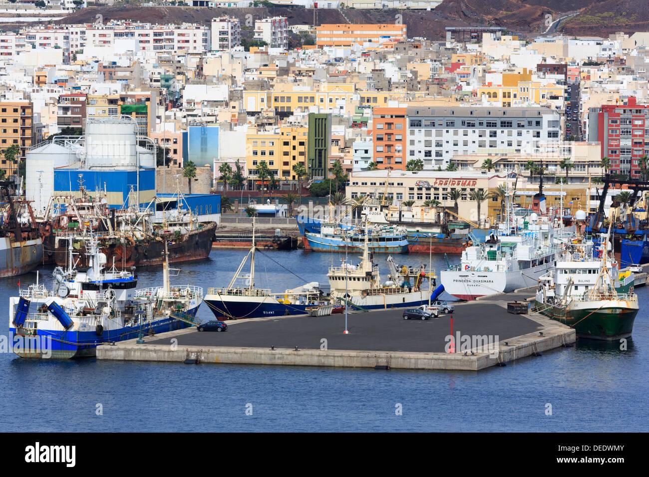 Fishing boats in Santa Catalina Port, Las Palmas City, Gran Canaria Island, Canary Islands, Spain, Atlantic, Europe Stock Photo