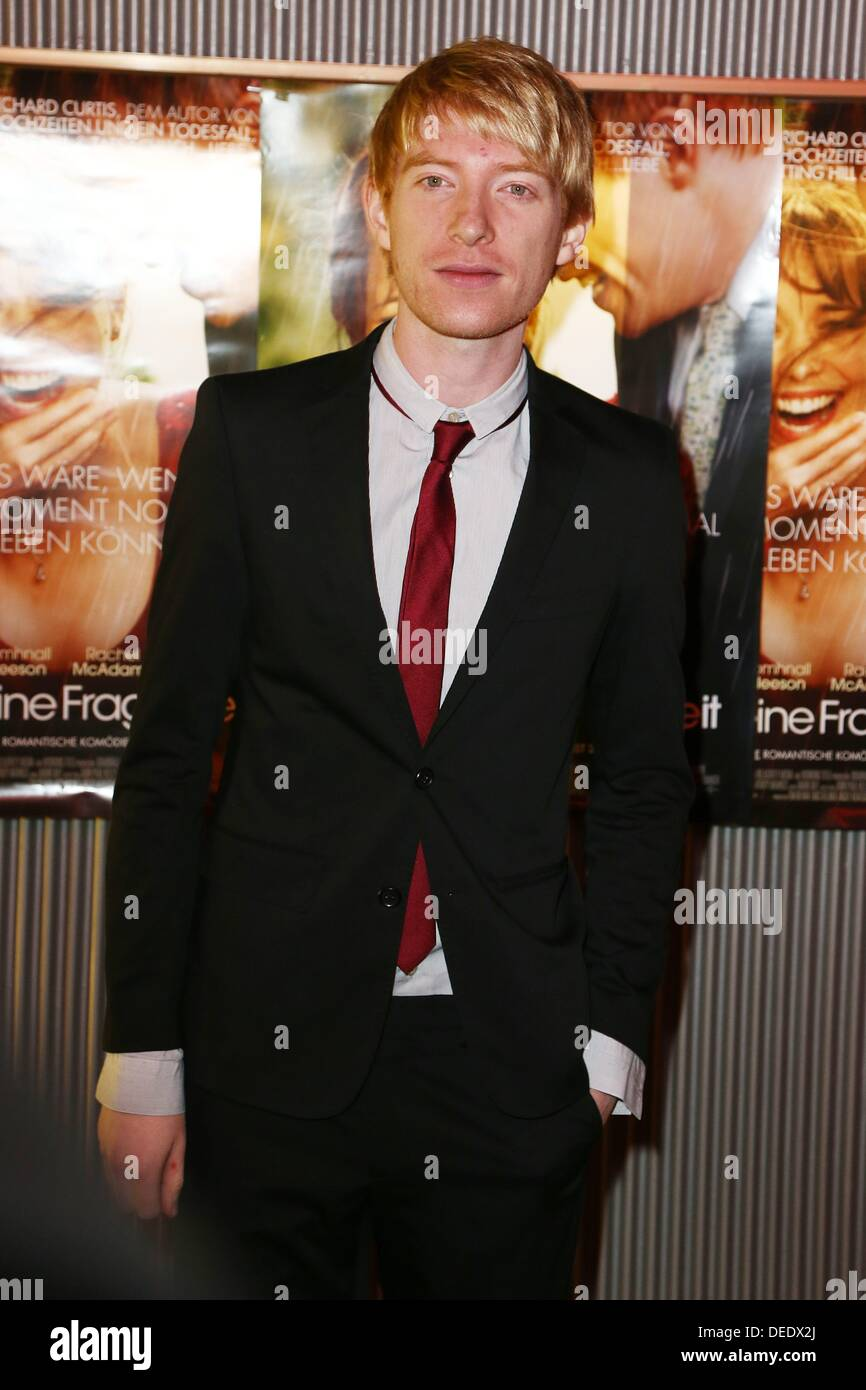 Berlin, Germany. 16th Sep, 2013. Domhnall Gleeson during the photo call for the premiere of the movie - all a question of time - at Astor Film Lounge in Berlin./picture alliance © dpa picture alliance/Alamy Live News - Stock Image