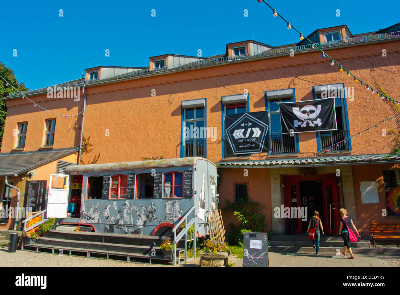 Scheune bar and entertainment centre Neustadt the new town Dresden city Saxony state eastern Germany central Europe - Stock Image
