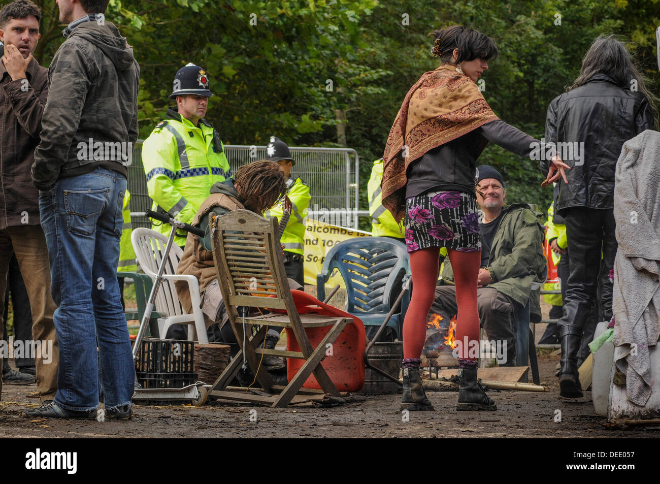 Balcombe,West Sussex, UK. 16th Sept, 2013. Relaxed atmosphere at Cuadrilla site entrance as Natalie Hynde brightens the scene .Environmentalists rejoiced after todays failed attempt by West Sussex County  in the high court, due flawed case, to evict them from the road side camp. The anti fracking environmentalists are protesting against test drilling by Cuadrilla on the site in West Sussex that could lead to the controversial fracking process. © David Burr/Alamy Live News - Stock Image