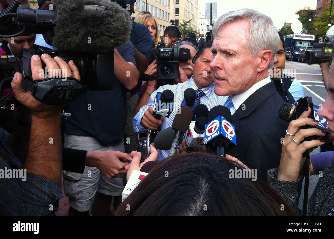 US Secretary of the Navy Ray Mabus speaks with reporters outside the Washington Navy Yard after a mass shooting Stock Photo