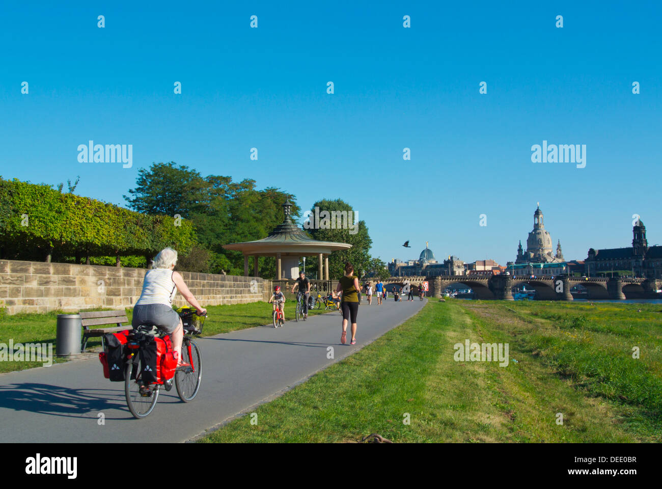 Riverside promenade in front of Palaisgarten park Neustadt the new town Dresden city Saxony state eastern Germany Stock Photo
