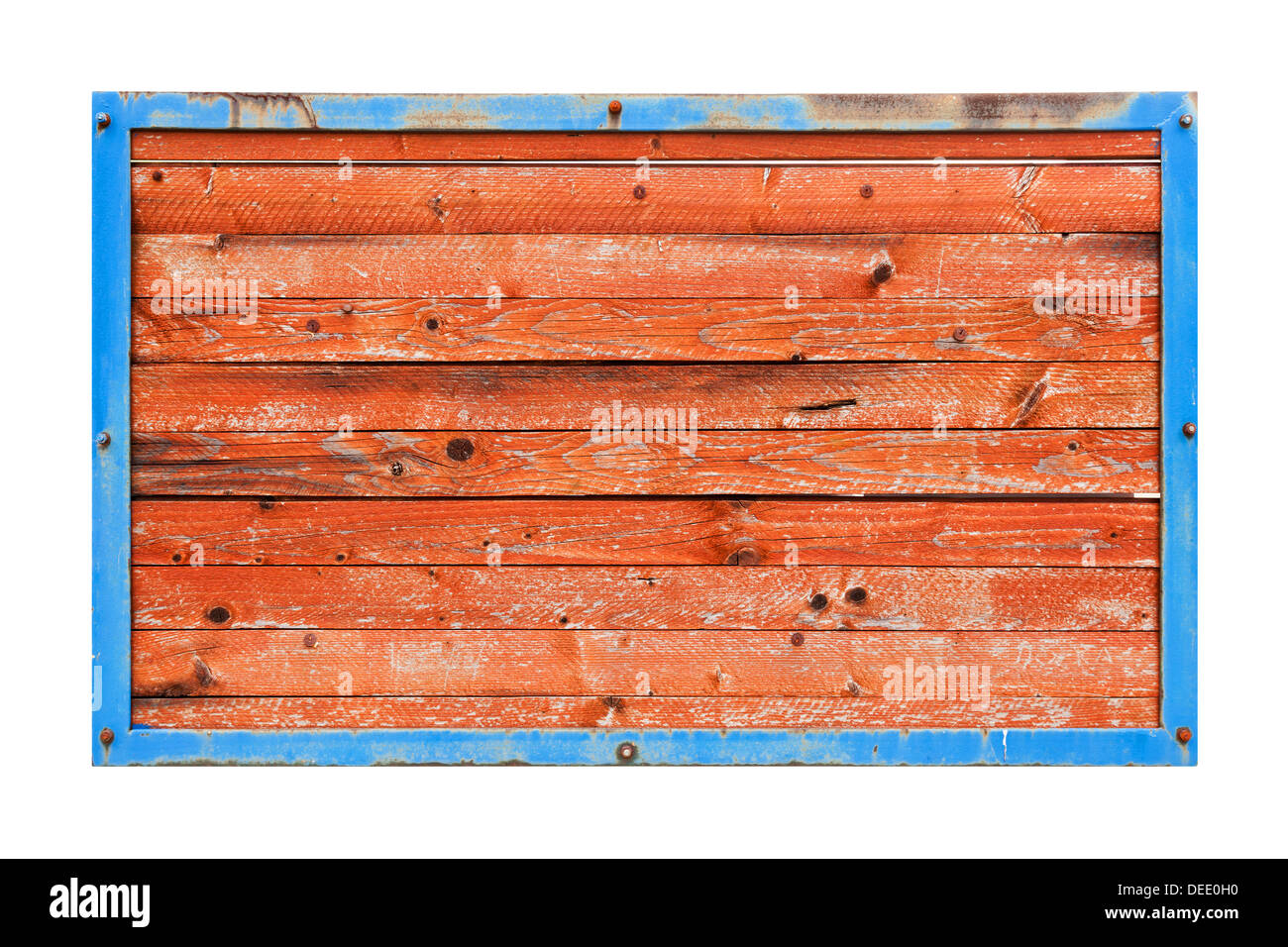 Red wooden boards in blue metal frame isolated on white - Stock Image