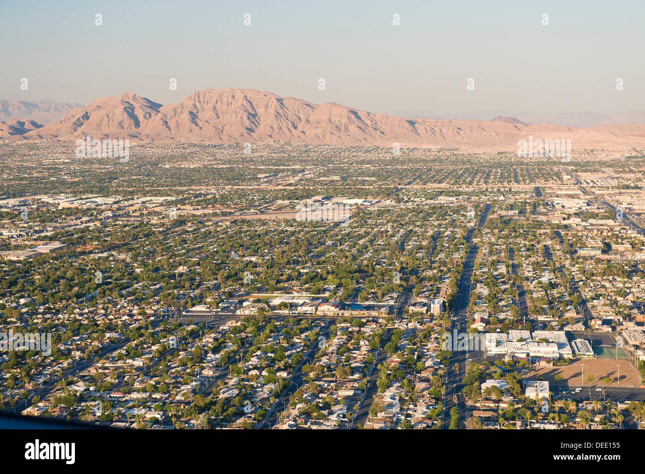 Las Vegas skyline from Stratosphere Tower, Nevada, United States of America, North America - Stock Image