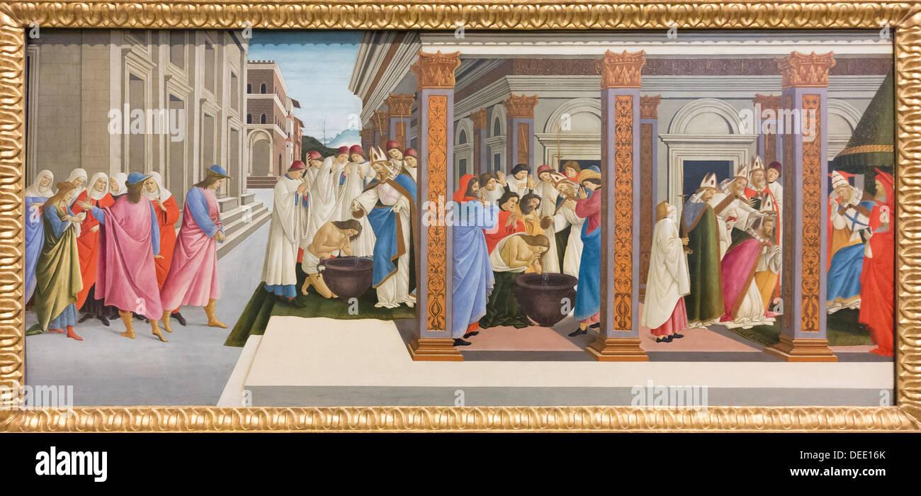 Four scenes from the early life of Saint Zenobius, Sandro Botticelli - Stock Image