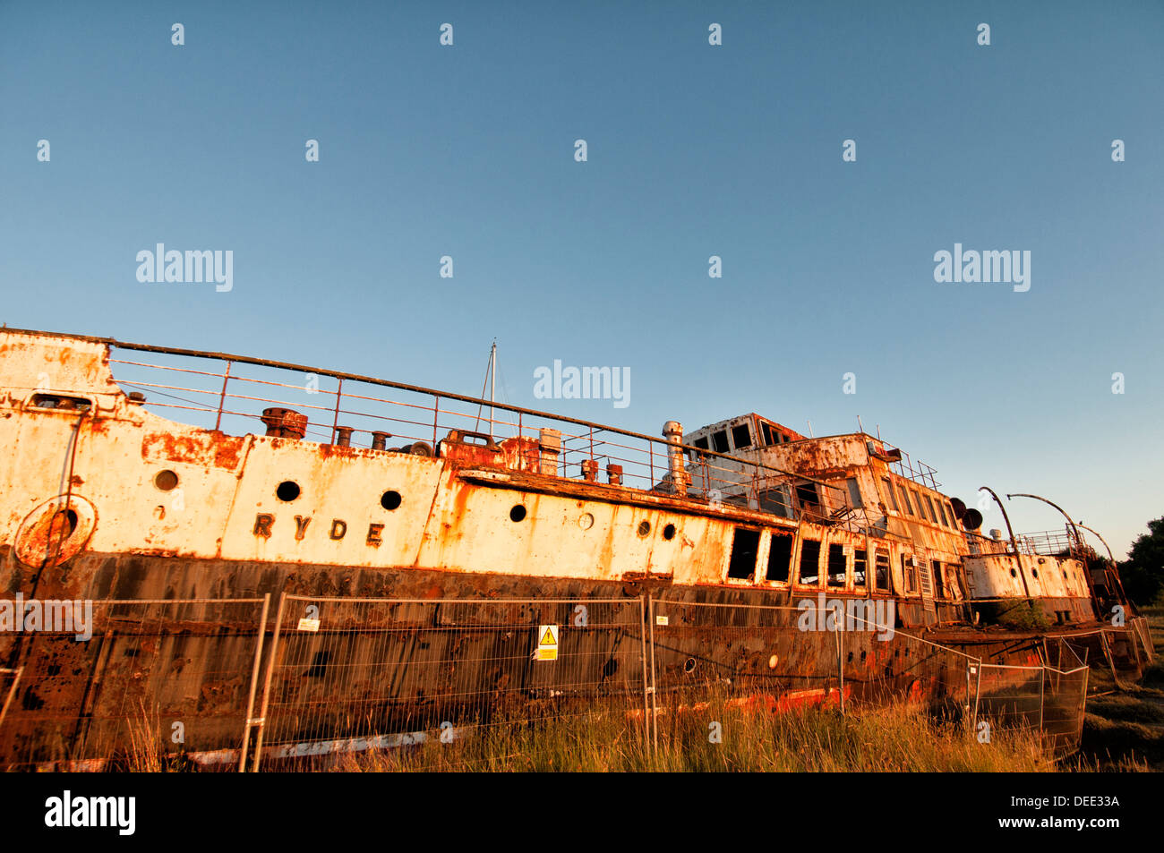 wreck of the paddle steamer Ryde on the Isle of Wight - Stock Image