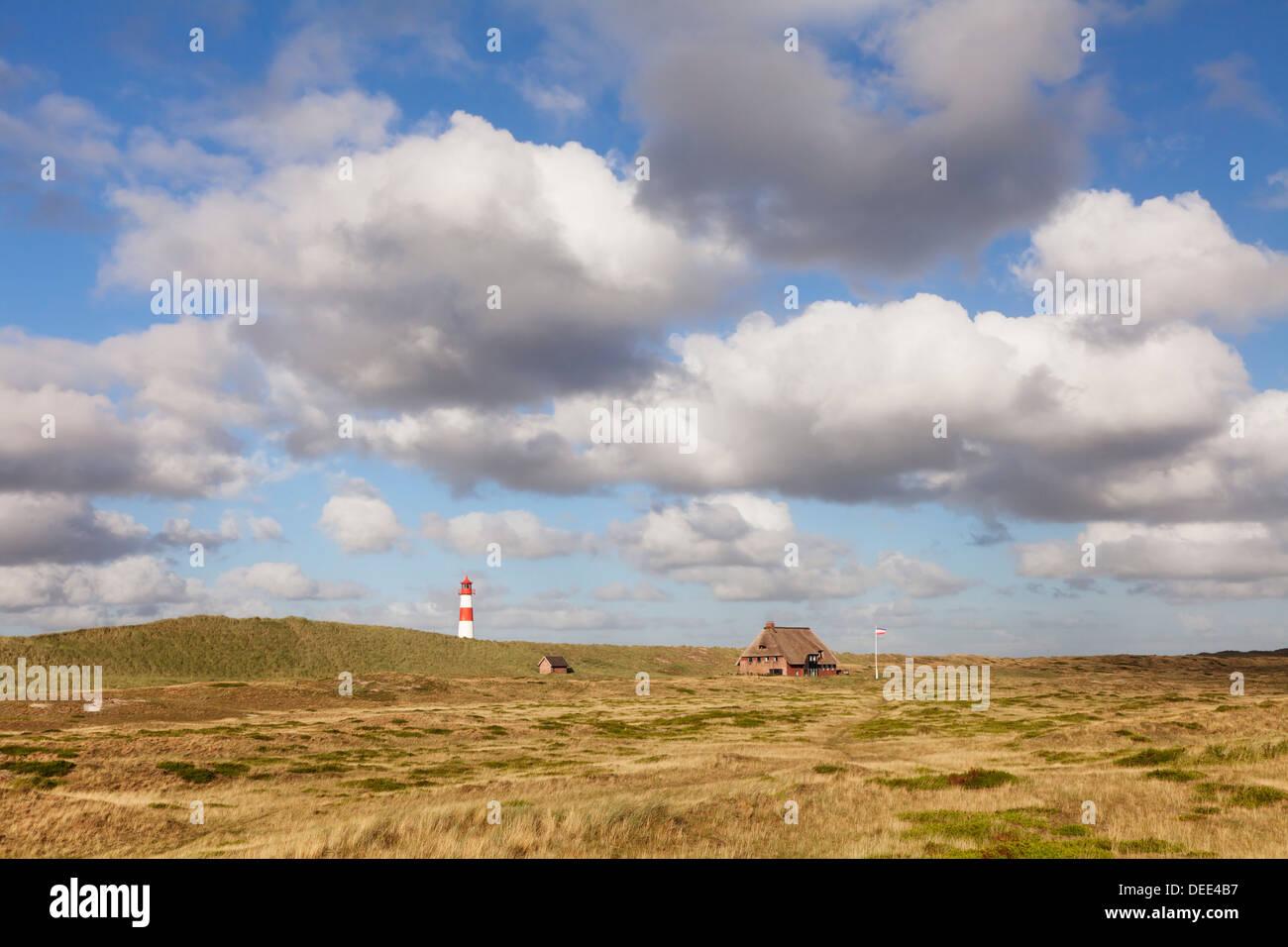 Lighthouse List Ost and Frisian house, Ellenbogen, Sylt Island, North Frisian Islands, Schleswig Holstein, Germany, Europe - Stock Image