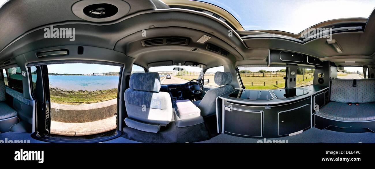 360 degree panorama of the interior of a mazda bongo campervan - Stock Image