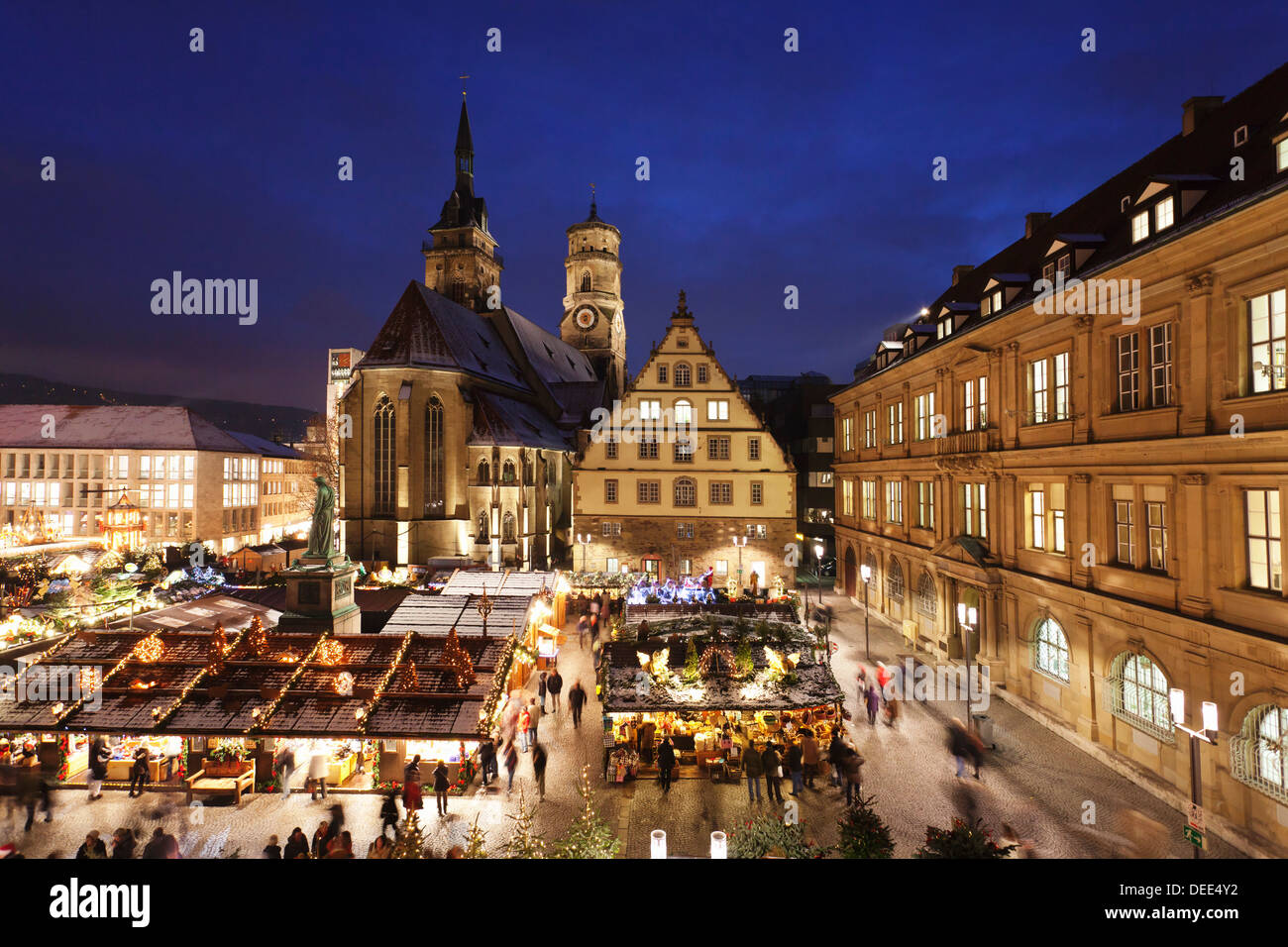 Christmas In Stuttgart Germany.Christmas Fair On Schillerplatz Square With Stiftskirche