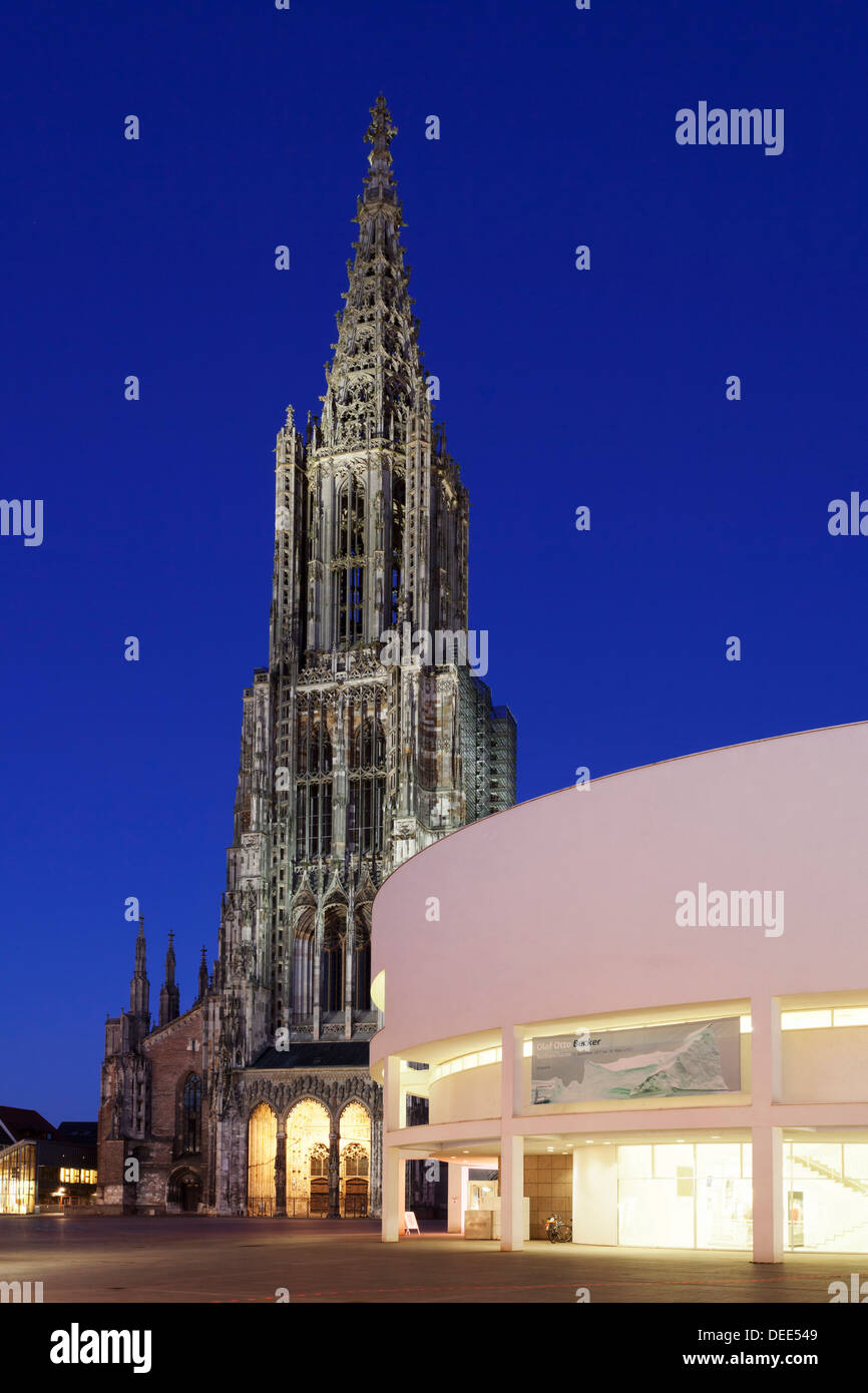 Cathedral and Stadthaus (Assembly Hall), Ulm, Baden Wurttemberg, Germany, Europe - Stock Image