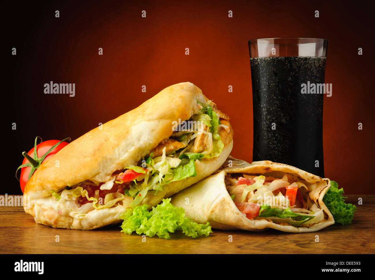 still life with traditional turkish doner kebab, shawarma and cola drink - Stock Image