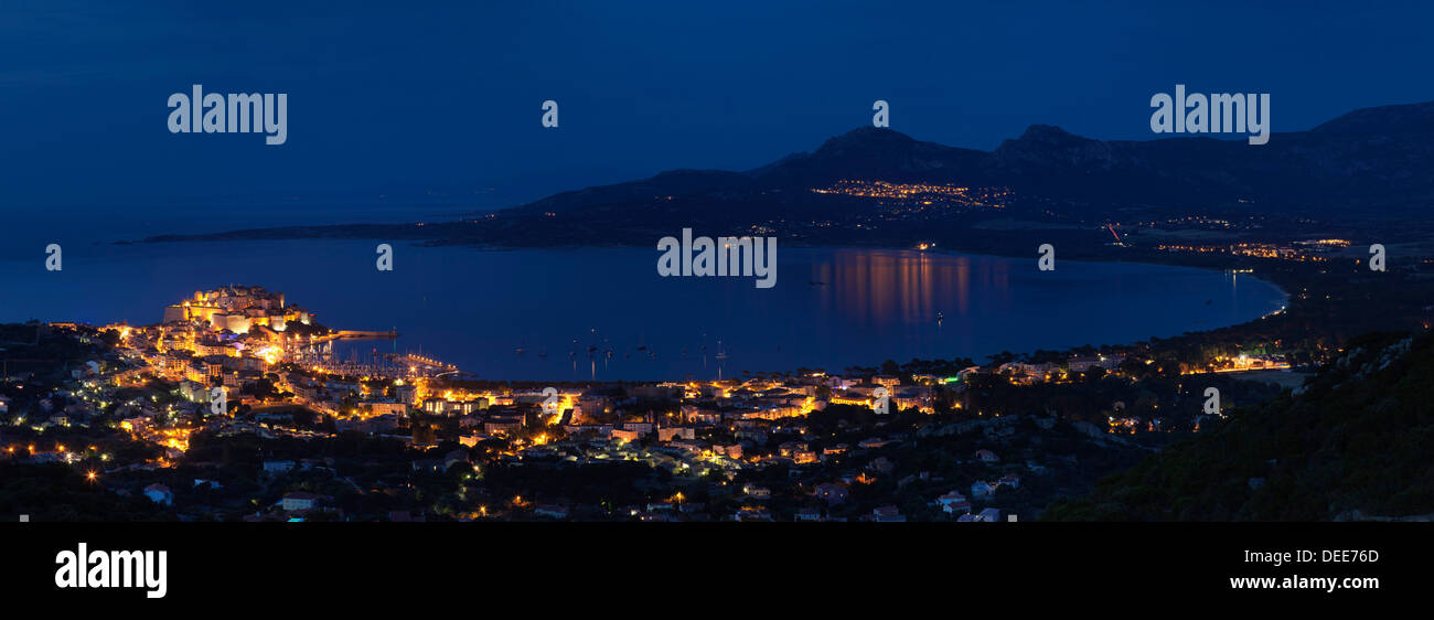 Calvi at night, Balagne, Corsica, France, Mediterranean, Europe - Stock Image