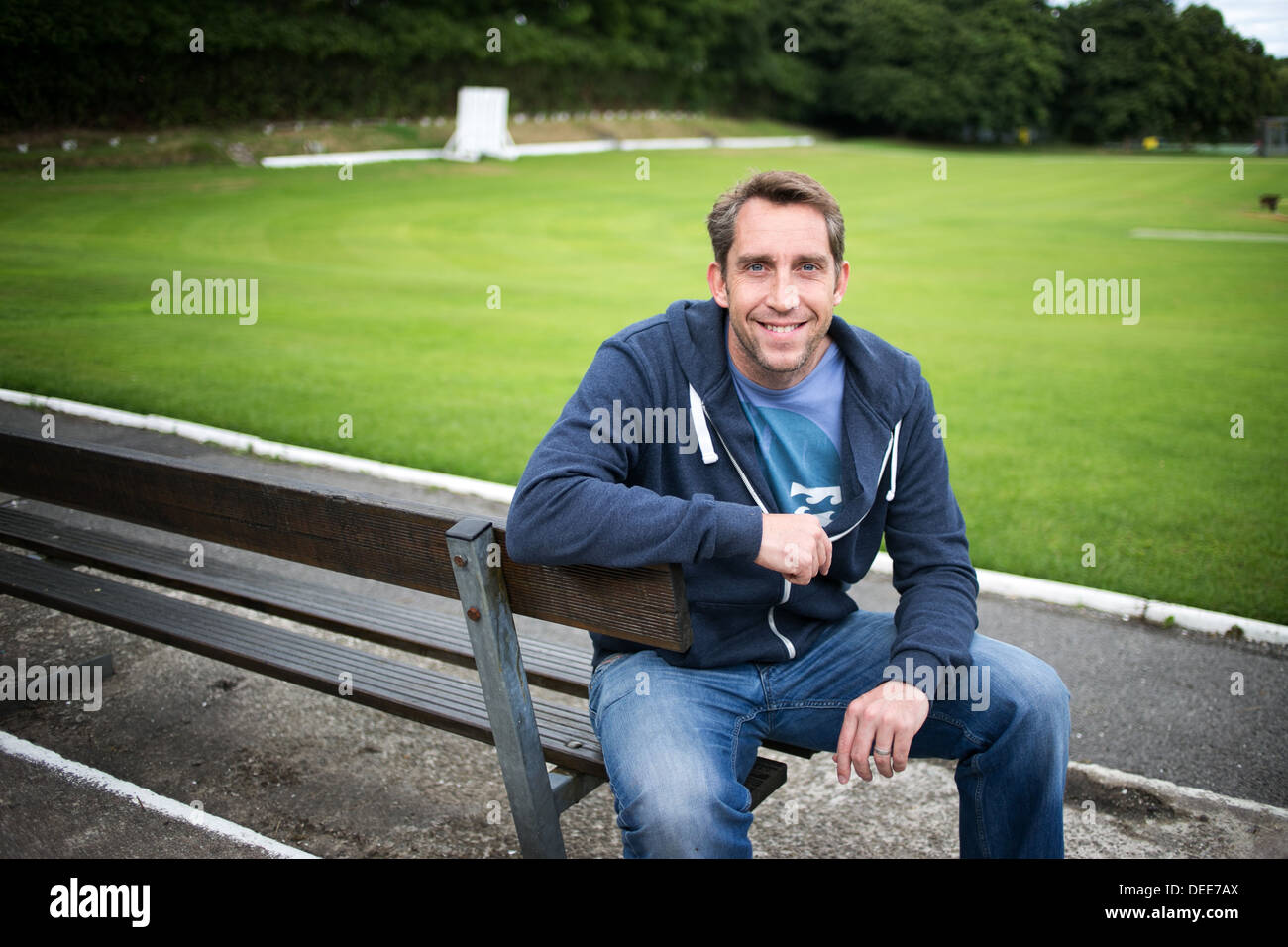 Stephen Parry , the former Olympic swimmer and current businessman and broadcaster pictured at Stand Cricket Club,  Whitefield - Stock Image