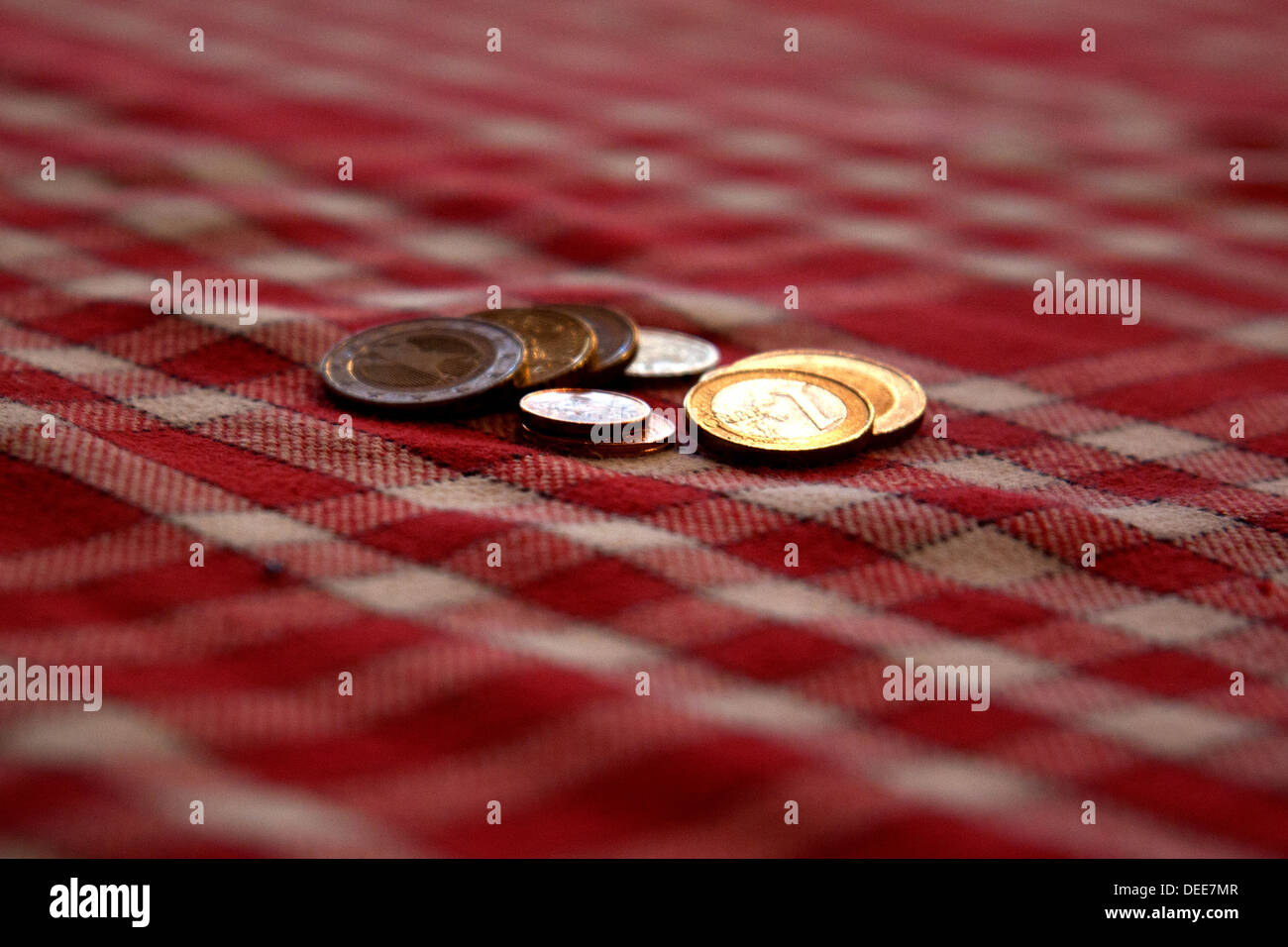 coins on a table - Stock Image