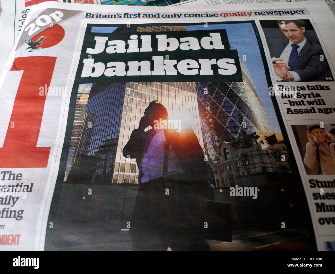 'Jail bad bankers' newspaper headline on front cover of Independent  newspapers London England UK 19 June 2013 - Stock Image