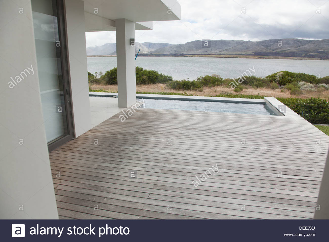 Deck and pool of modern house - Stock Image