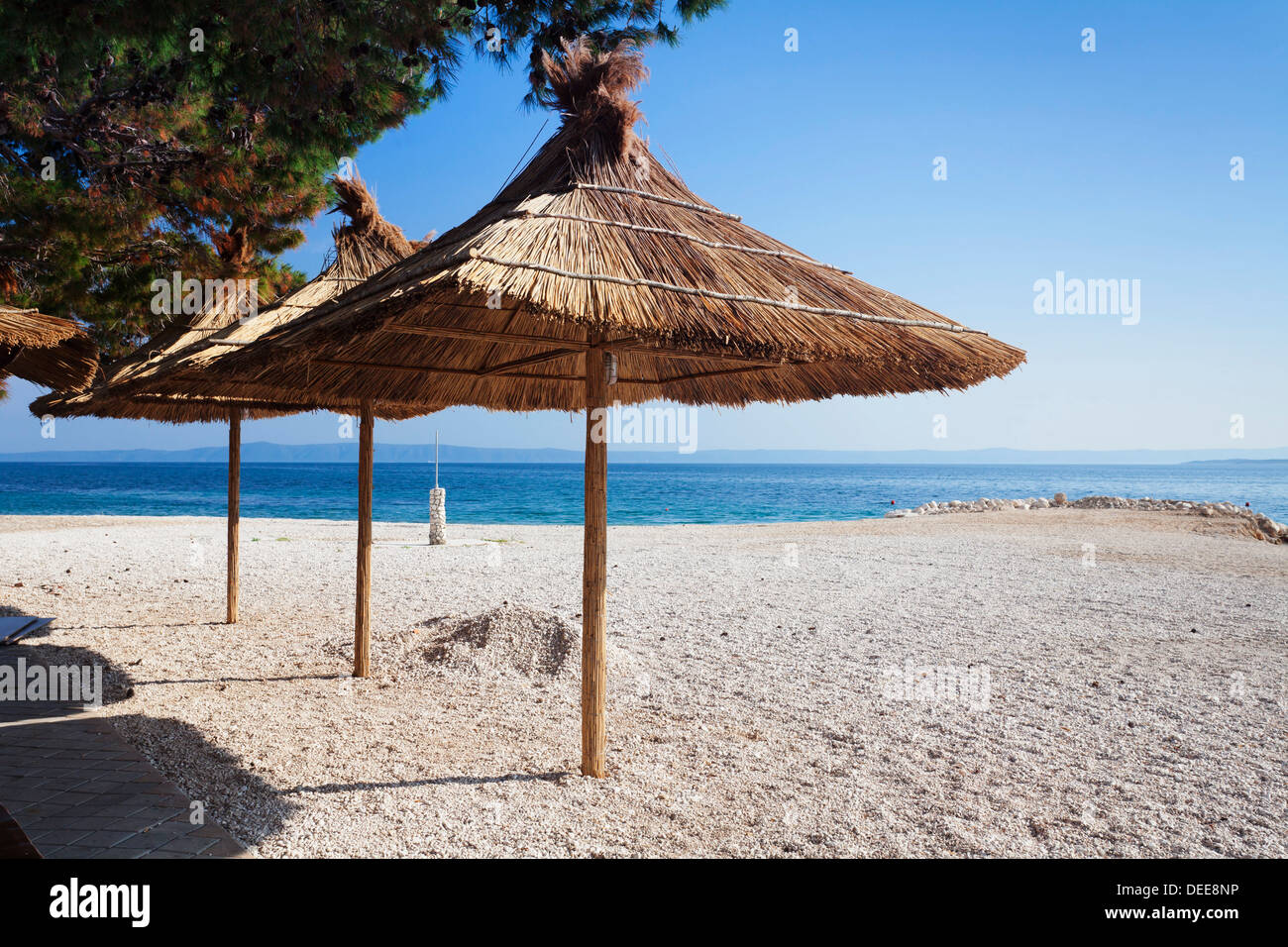 Beach of Baska Voda, Makarska Riviera, Dalmatia, Croatia, Europe - Stock Image