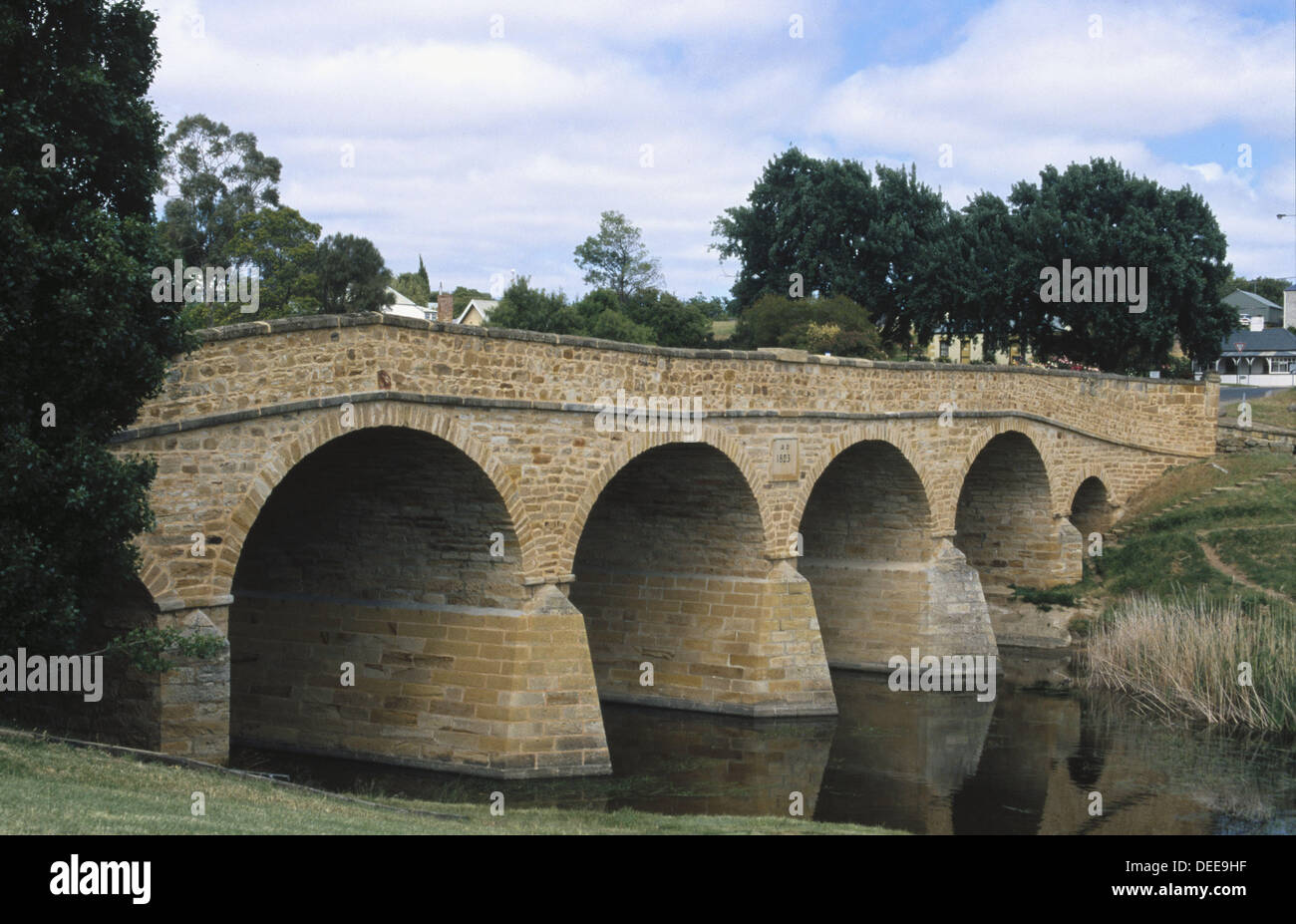 Oldest bridge in Australia, built 1823 by convicts, in Richmond,Tasmania, Australia. Stock Photo