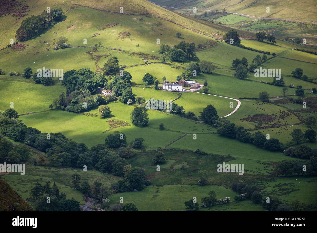View from Catbells of farm in the English Lake District near Keswick - Stock Image
