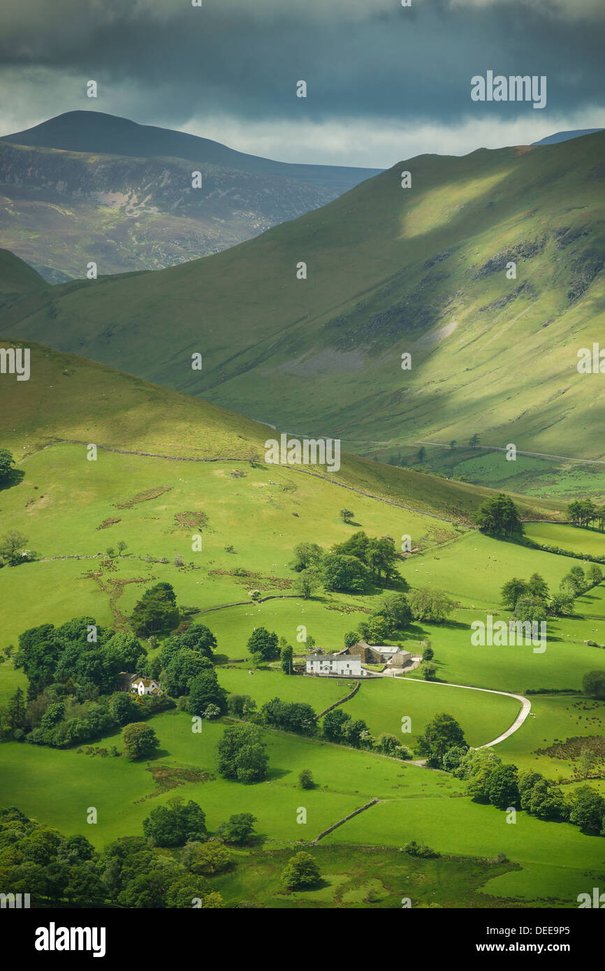 The English Lake District near Keswick. View from Catbells, Cumbria - Stock Image