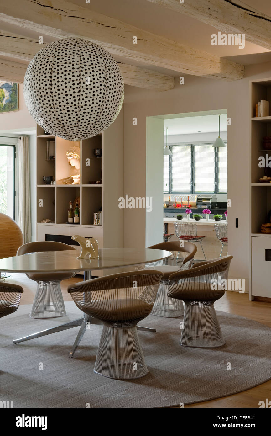 Dining room in the home of Bruno and Dominique Lafourcade in Provence - Stock Image