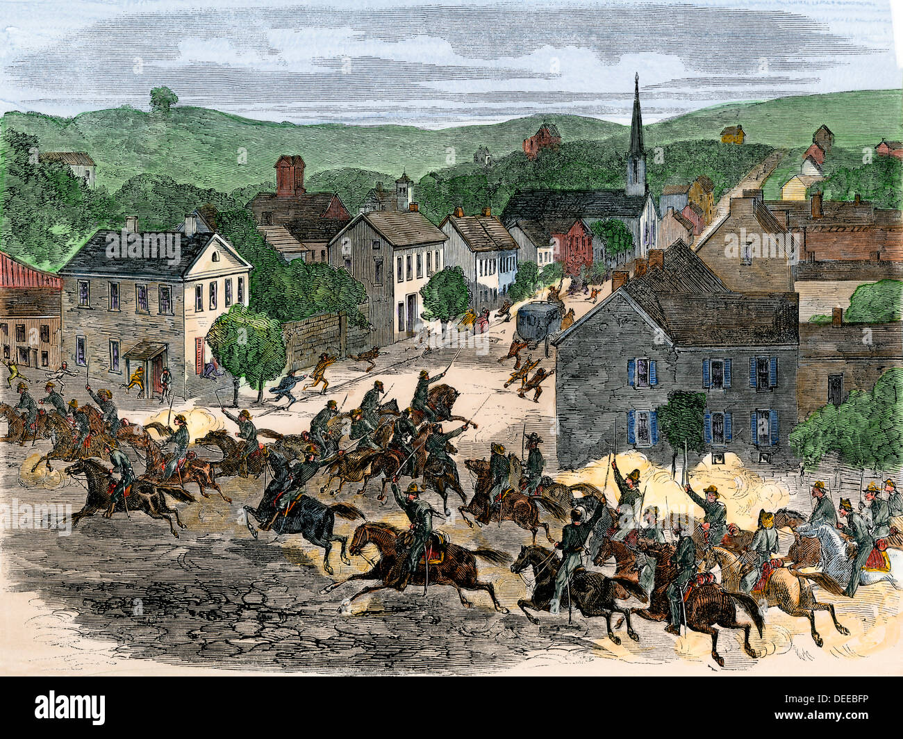 Morgan's Confederate cavalry raid into Washington, Ohio, 1863. Hand-colored woodcut - Stock Image