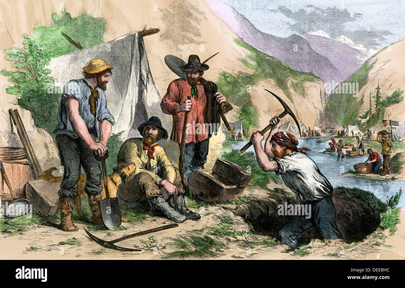 California gold diggers, as seen by an eyewitness, 1850s. Hand-colored woodcut - Stock Image