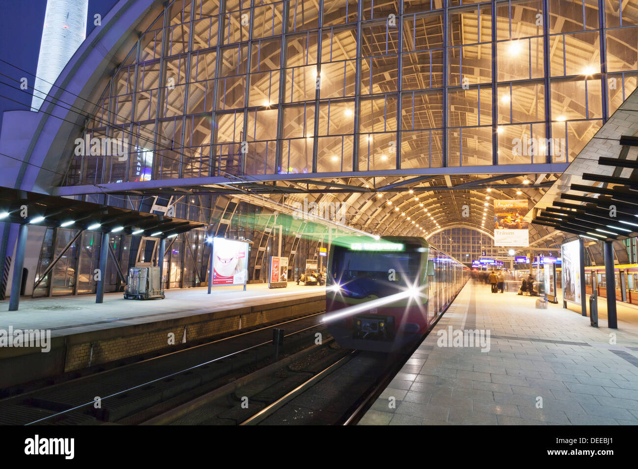 Incoming train, Alexanderplatz S Bahn station, Berlin, Germany, Europe Stock Photo
