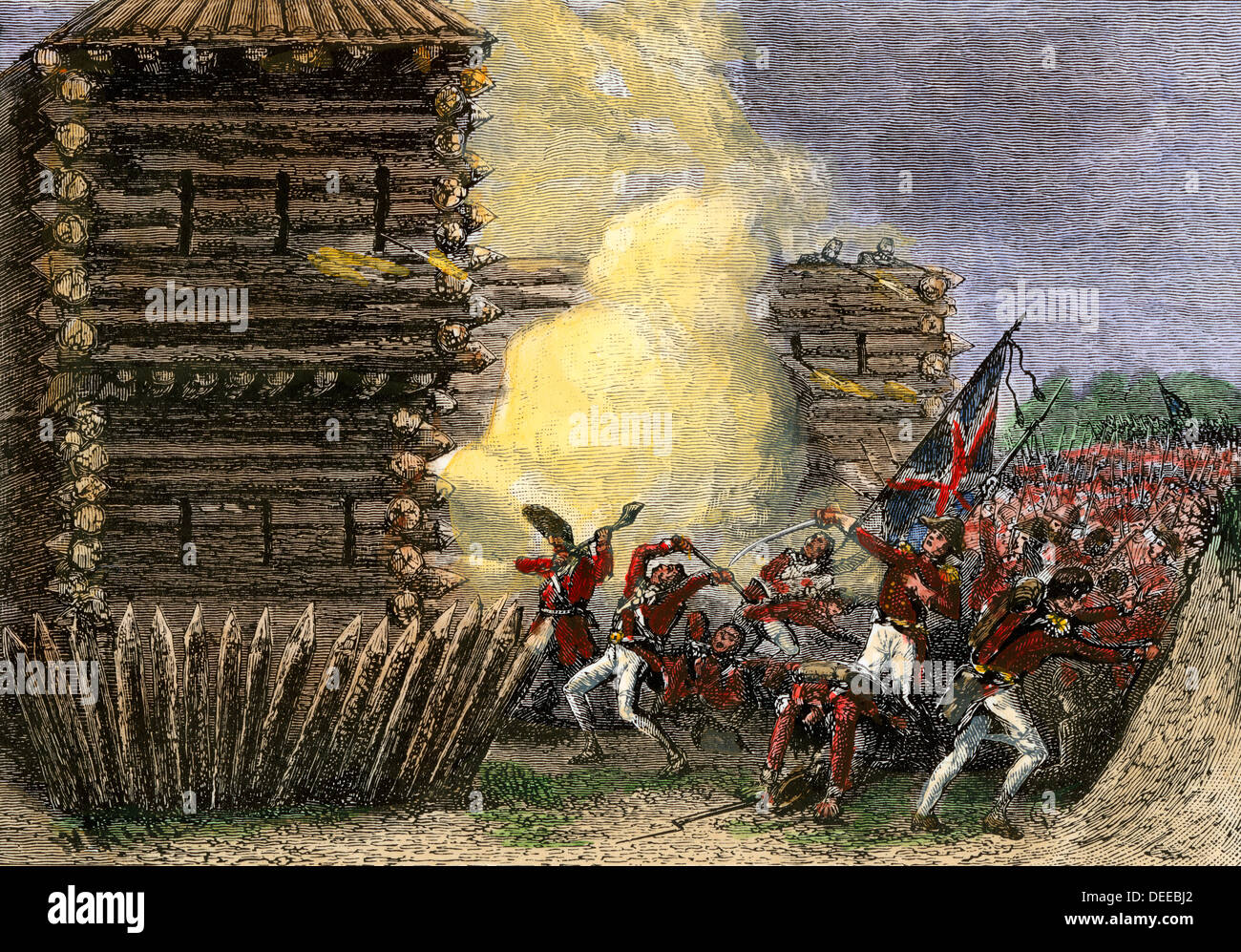 British and Native American allies attacking Fort Stephenson in Ohio, War of 1812. Hand-colored woodcut - Stock Image