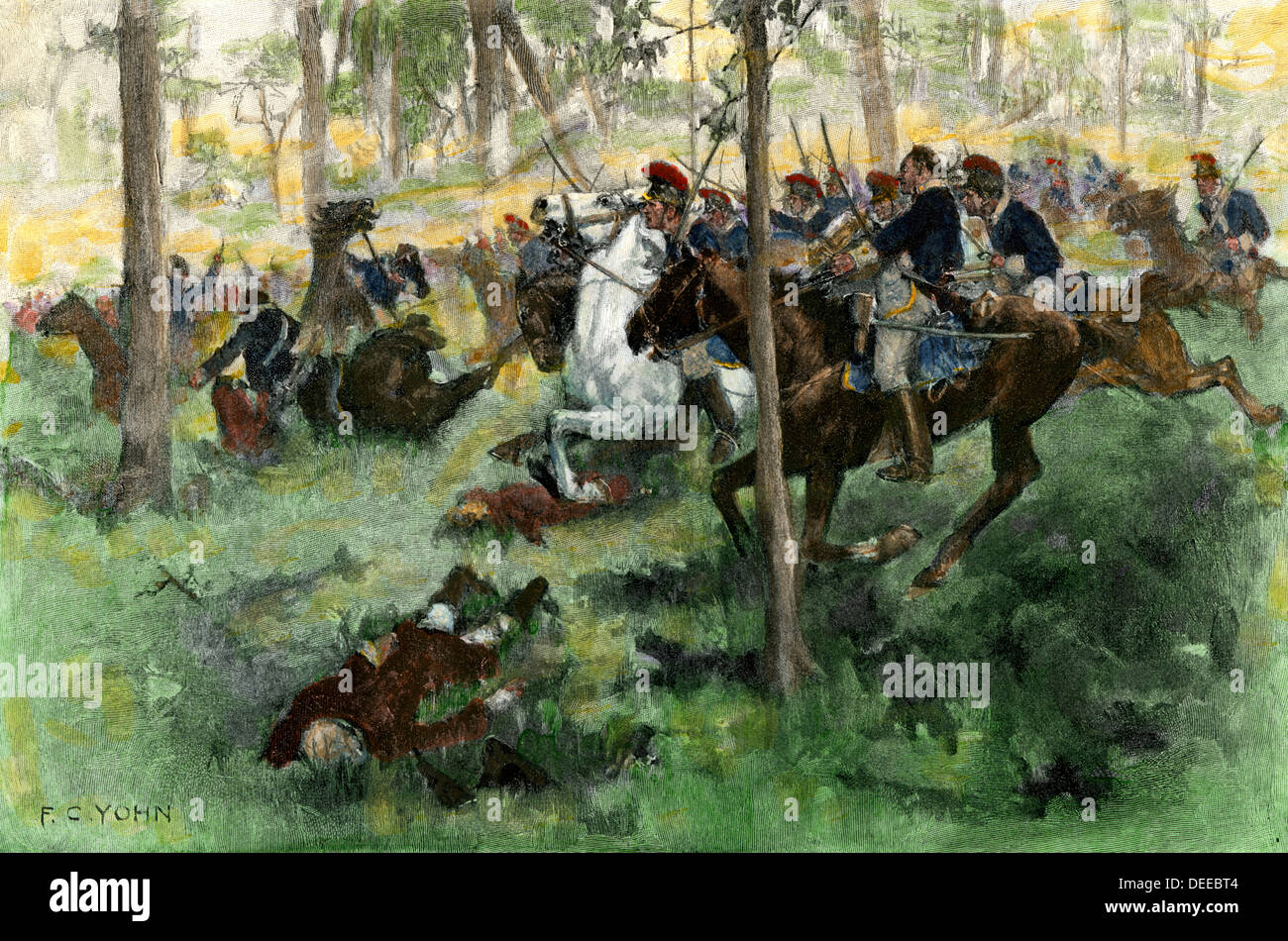 American cavalry charge covering retreat at the Battle of Hobkirk's Hill, Revolutionary War, 1781. Hand-colored halftone of an F.C. Yohn illustration - Stock Image