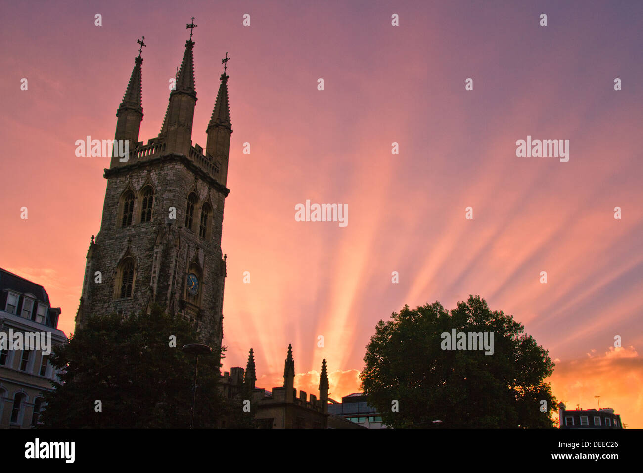 Sunrise starburst over the City of London - Stock Image