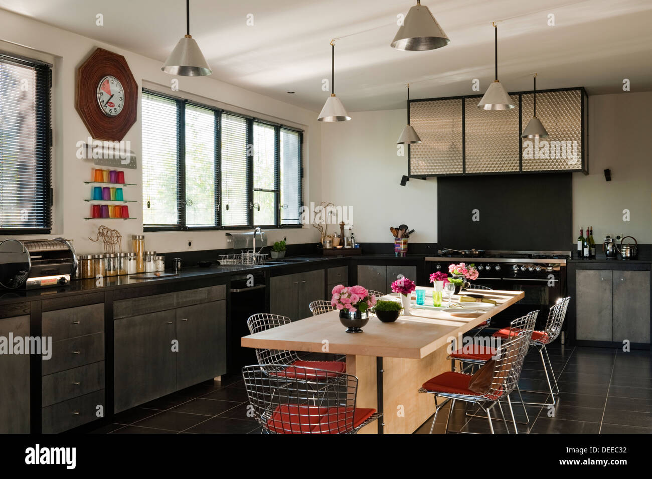 Kitchen in the home of Bruno and Dominique Lafourcade in Provence - Stock Image