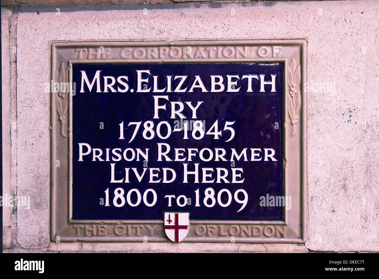 Mrs.Elizabeth Fry the prison reformer plaque at the site she lived in the City of London - Stock Image