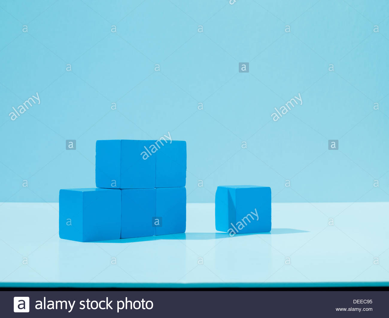 Stack of blue blocks Stock Photo