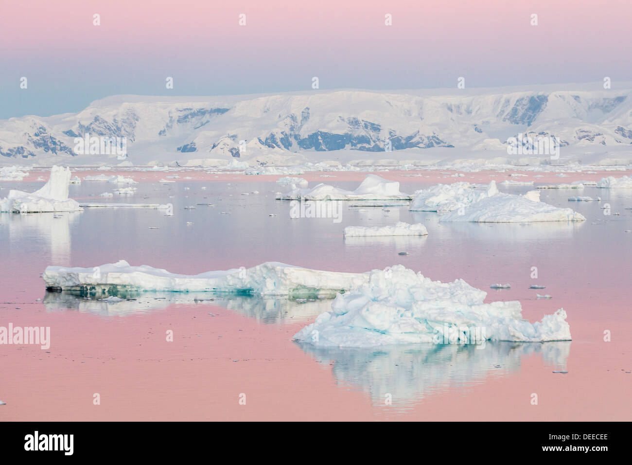 Sunset over icebergs in the Gerlache Strait, Antarctica, Southern Ocean, Polar Regions Stock Photo