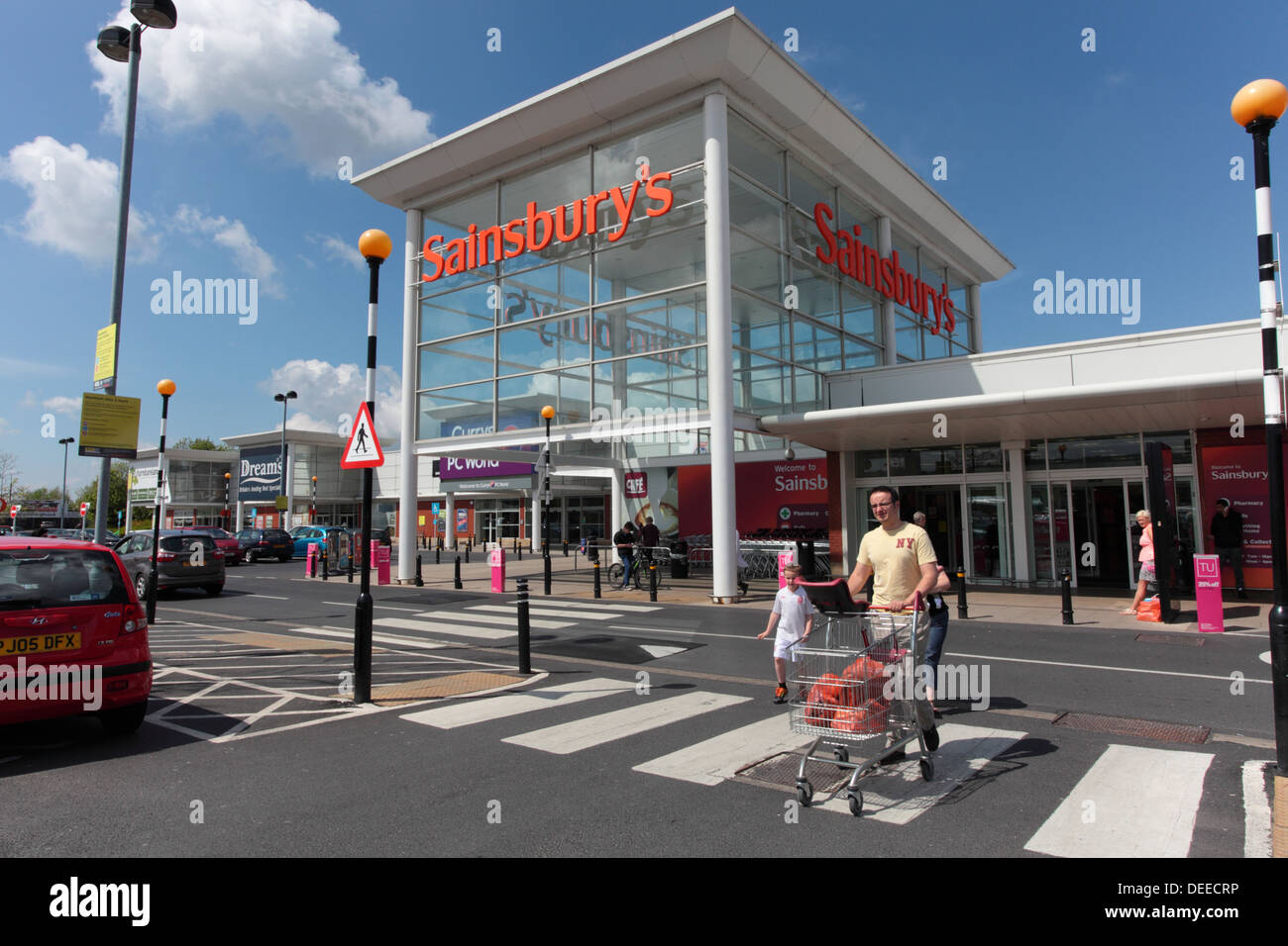Shoppers at Sainsbury's store in Burnley - Stock Image