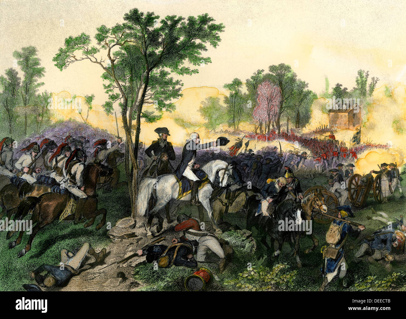 Battle of Eutaw Springs with Americans commanded by Nathanael Greene, Hand-colored engraving - Stock Image