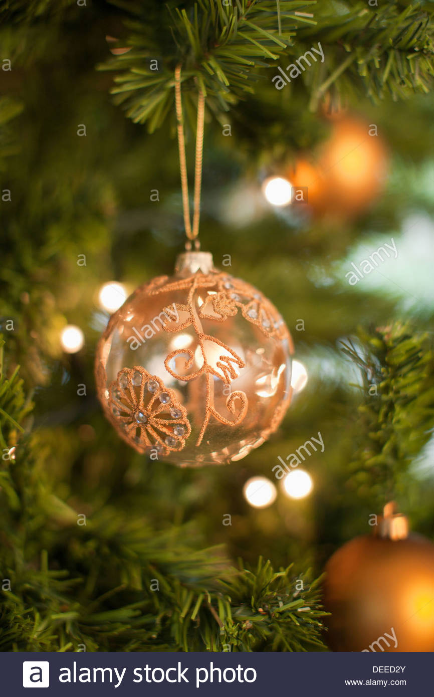 Close up of Christmas ornament on tree - Stock Image