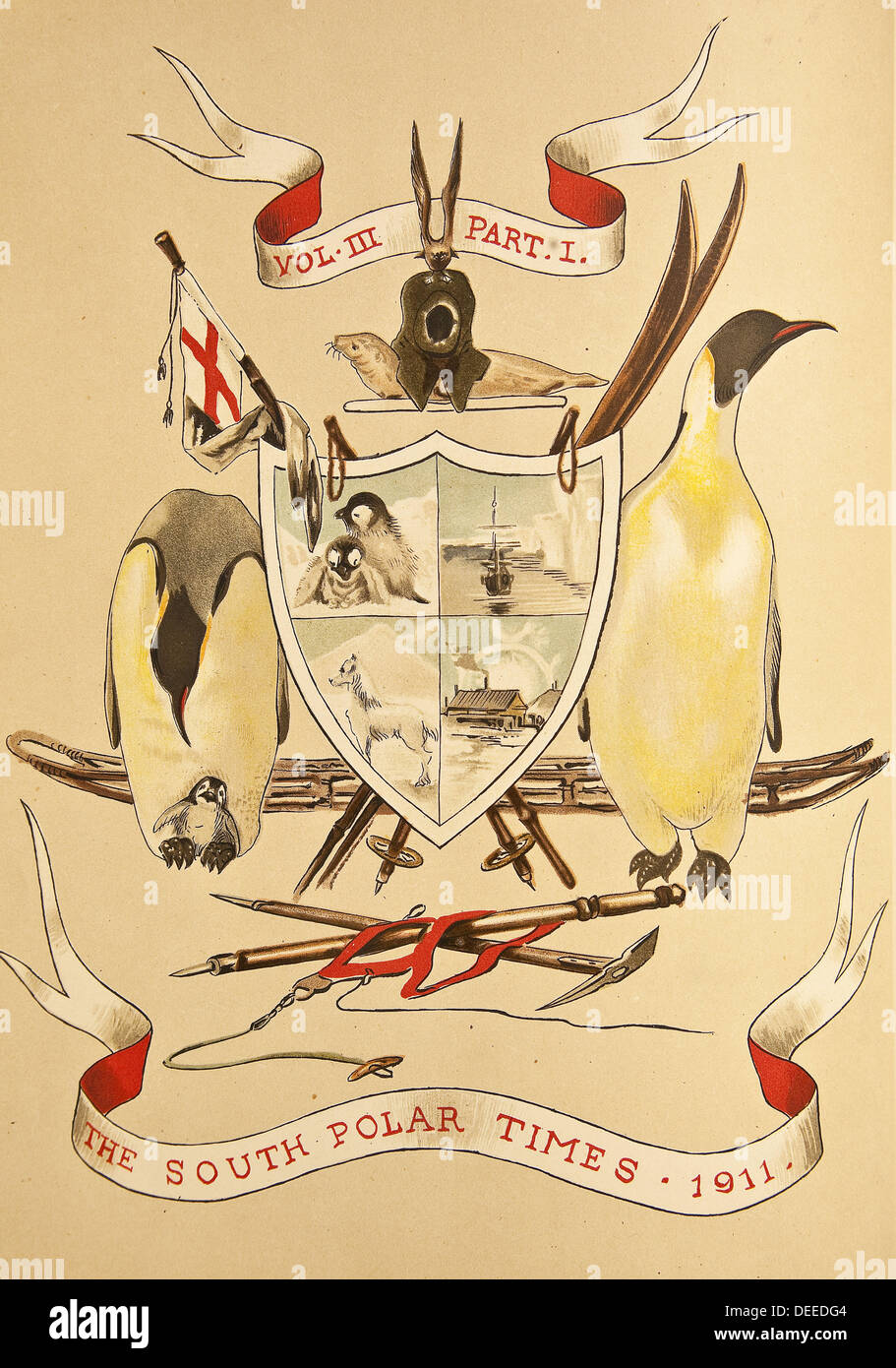 Coat of Arms from South Polar Times , 3 vols of articles and paintings from Captain Scott´s Discovery 1901 and Terra Stock Photo