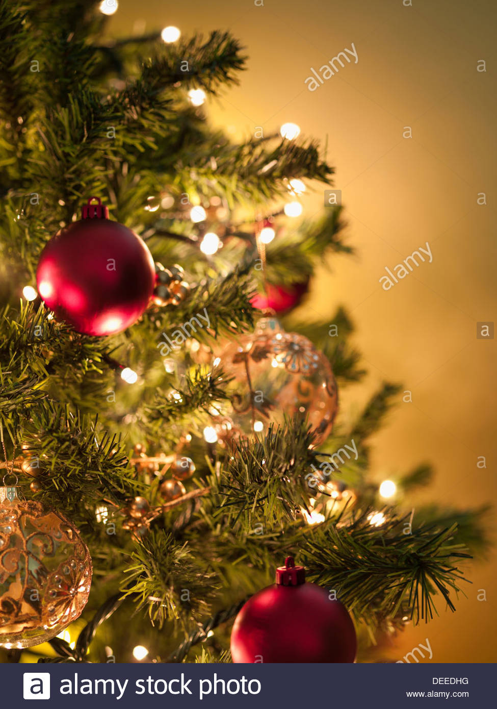 Christmas ornaments on tree - Stock Image
