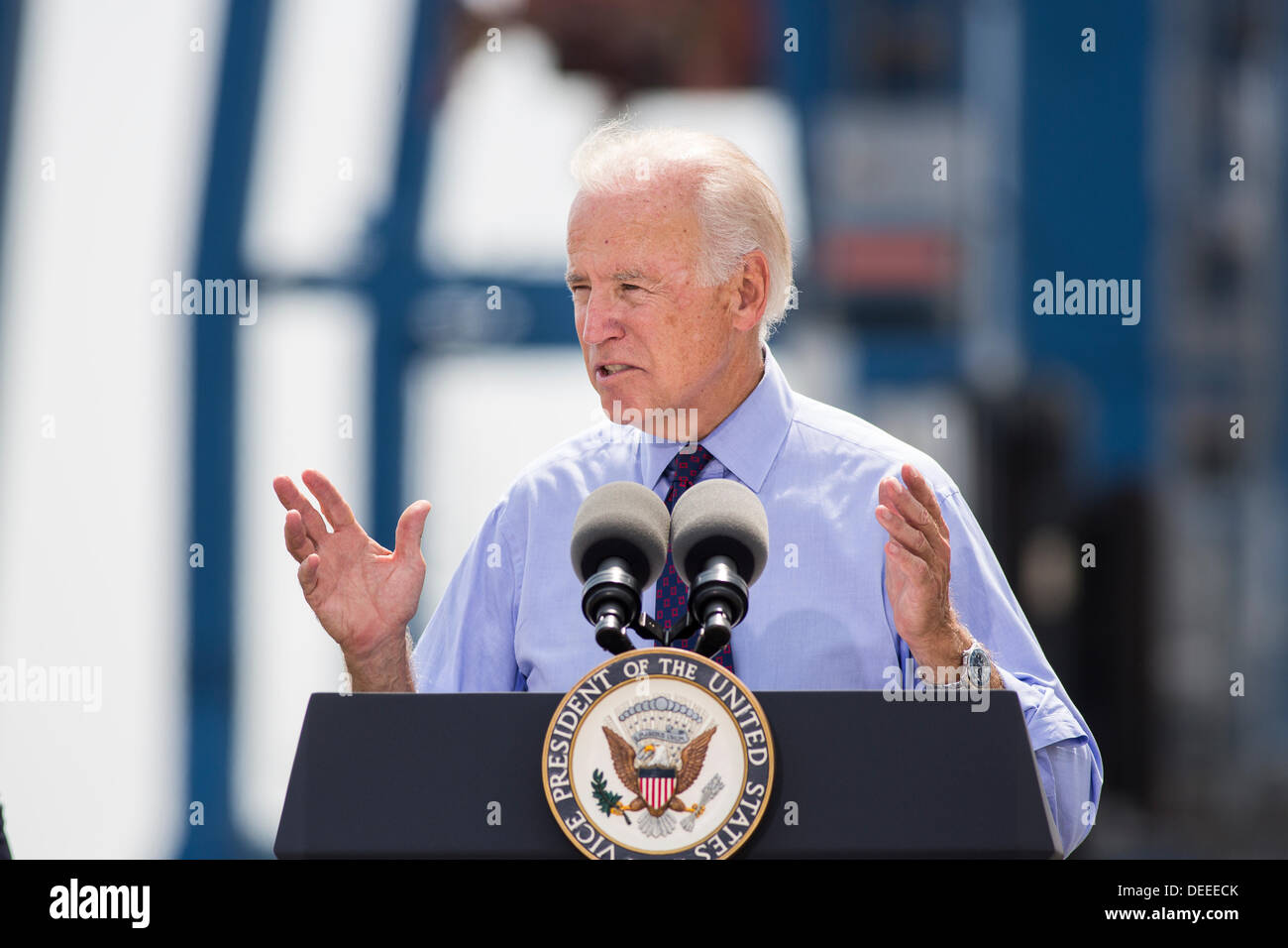 US Vice President Joe Biden addresses a crowd during a visit to Port of Charleston Columbus Container Terminal on September 16, 2013 in Charleston, South Carolina. Biden spoke about the need to improve America's transportation infrastructures for exports and economic growth. - Stock Image