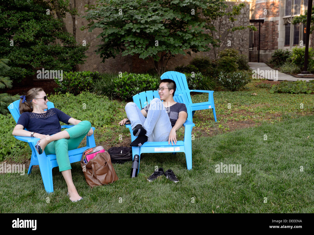Yale University students attending summer school relax after dinner at Morse Residential College. - Stock Image