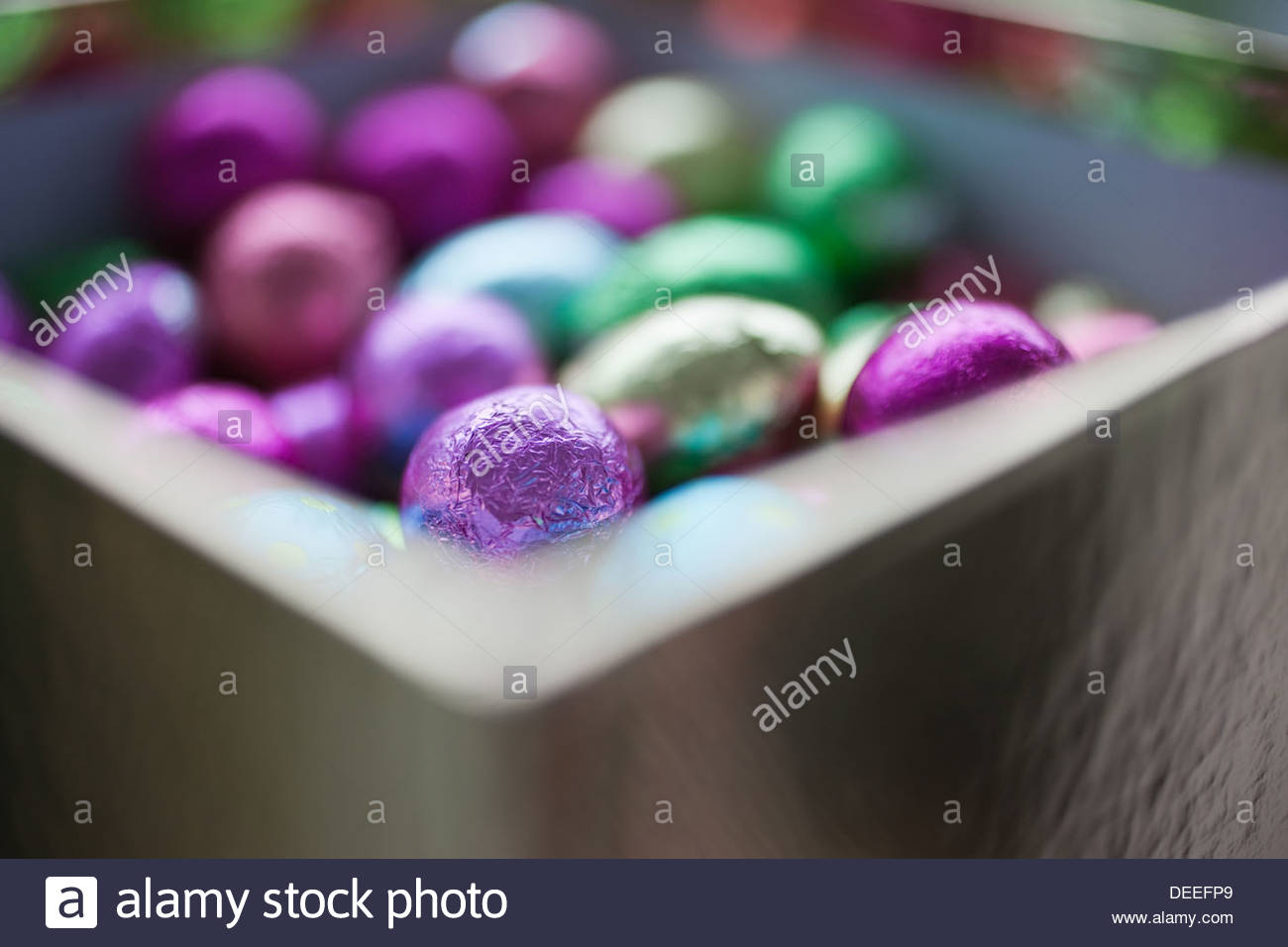 Foil-wrapped chocolate eggs Stock Photo