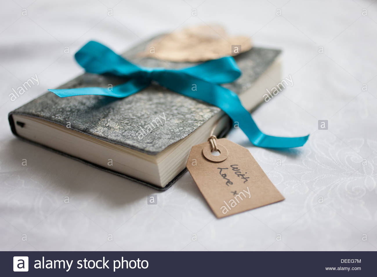 Close up of book tied with ribbon and gift tag Stock Photo