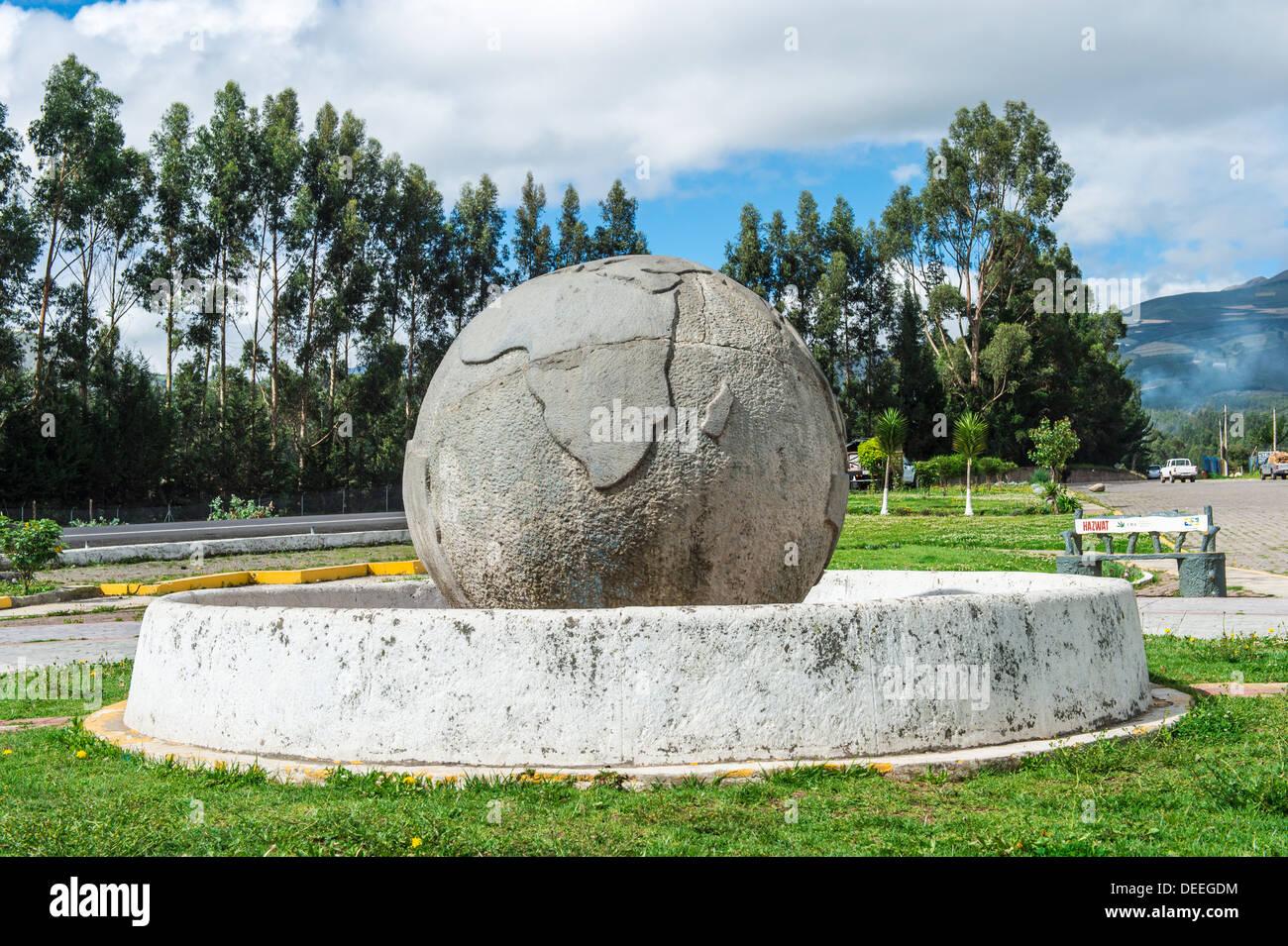 Equator line monument Guachala ball, Guachala, Pichincha Province, Ecuador, South America - Stock Image
