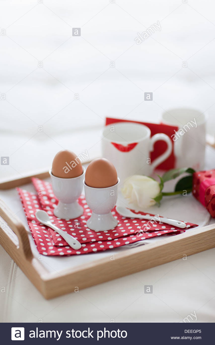 Valentine's Day breakfast tray - Stock Image