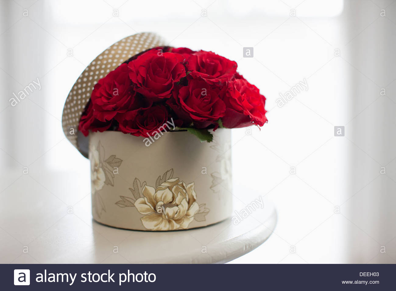 Red rose bouquet in gift box Stock Photo