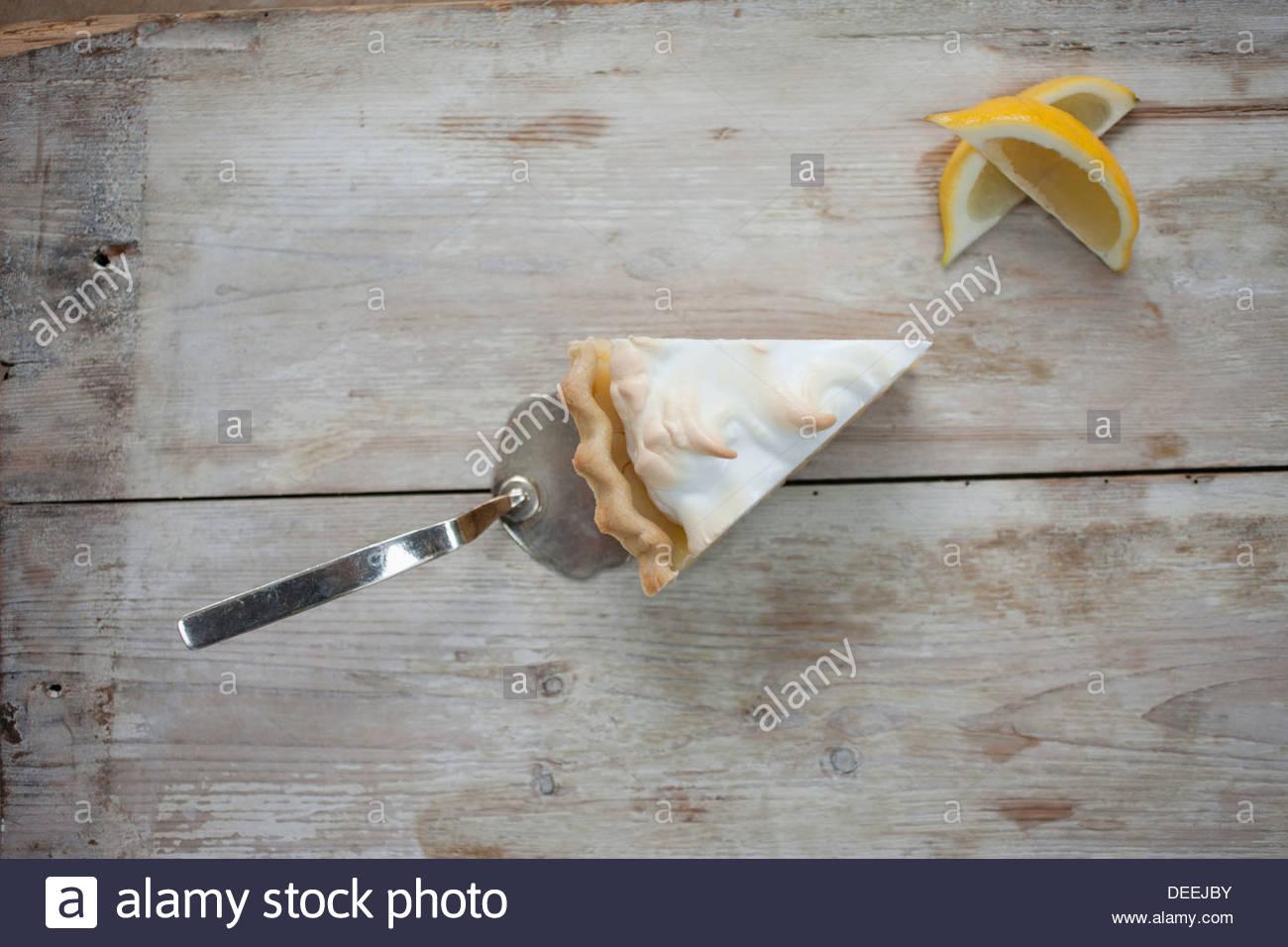 Slice of lemon meringue pie - Stock Image